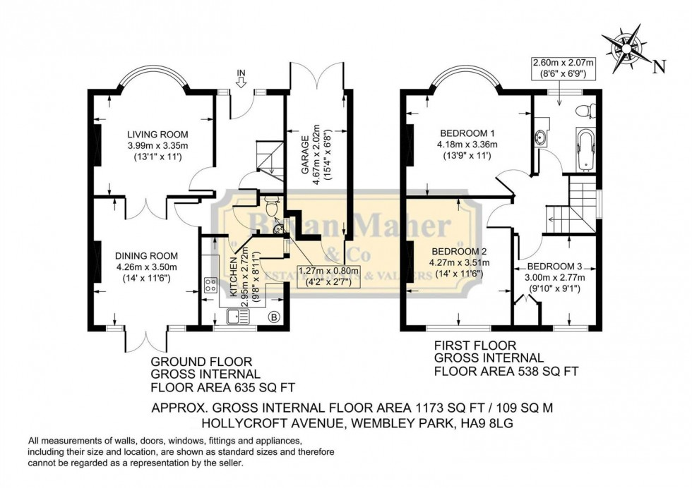 Floorplan for Hollycroft Avenue, WEMBLEY PARK