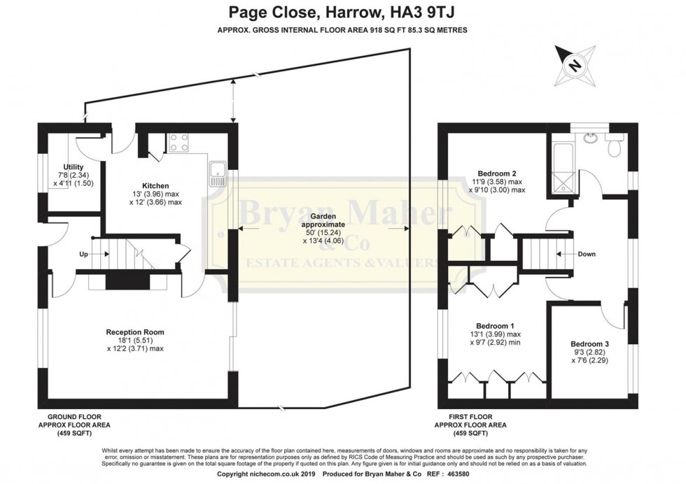 Floorplan for Page Close, HARROW
