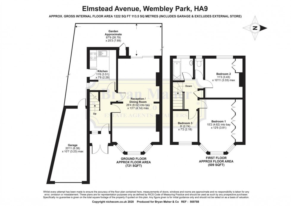 Floorplan for Elmstead Avenue, WEMBLEY PARK