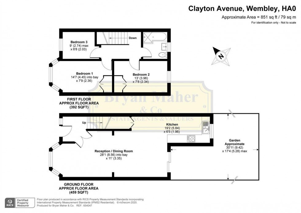 Floorplan for Clayton Avenue, WEMBLEY