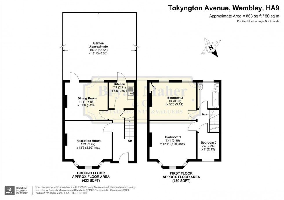 Floorplan for Tokyngton Avenue, Wembley