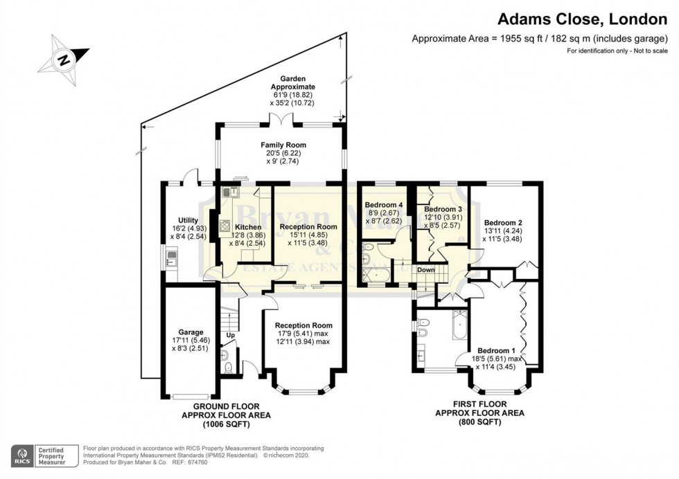 Floorplan for Adams Close, LONDON